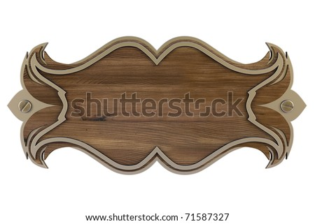 wooden wall panel with a metal frame. isolated on white. with clipping path. - stock photo