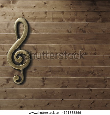 Wooden wall with g-clef - stock photo