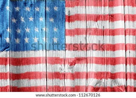 wooden wall with USA flag - stock photo