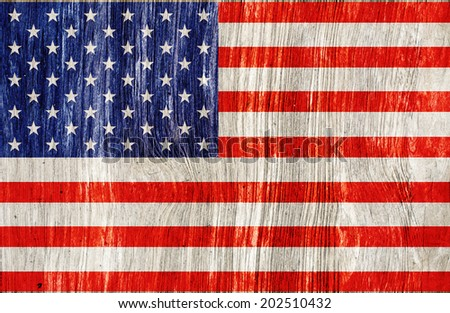wooden wall with USA flag