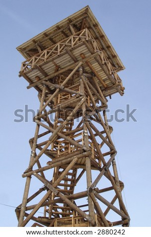 wooden watch tower for tourists to observe the surrounding landscape
