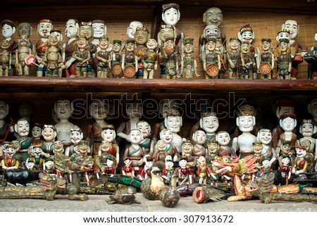 Wooden water puppet dolls, Hanoi, Vietnam - stock photo