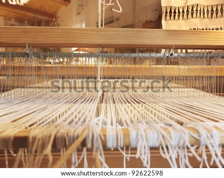 wooden weaving loom - stock photo