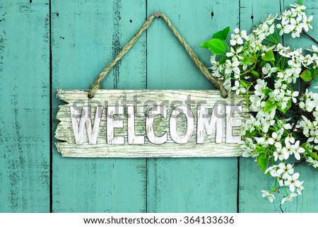Wooden Welcome Sign Spring Tree Blossoms Stock Photo