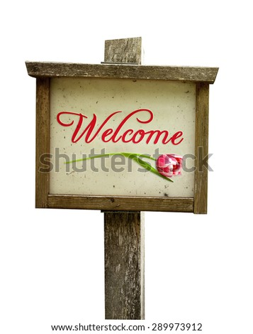Wooden welcome sign with tulip