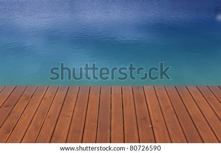 Wooden wharf and blue - stock photo