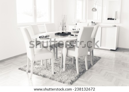 Wooden white table in dining room.Modern dining room with white furniture. Modern architecture contemporary interior, dining table and window.All white minimalist dining room.Modern design dining room - stock photo