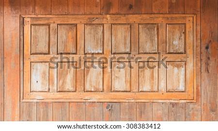 wooden window background - stock photo