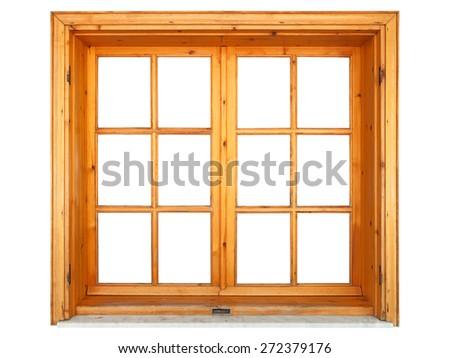 Wooden window closed - stock photo
