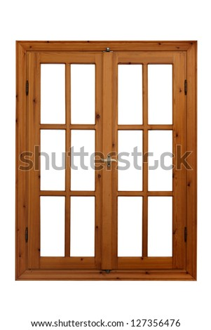 Wooden window closed view from inside isolated on white background - stock photo