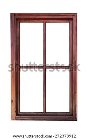 Wooden window frame isolated on white background - stock photo