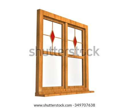 Wooden Window Frame Stained Glass Angle Stock Illustration ...