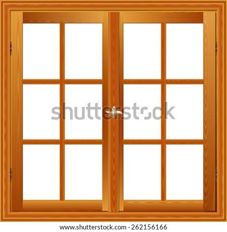 Wooden window illustration interior view - stock photo