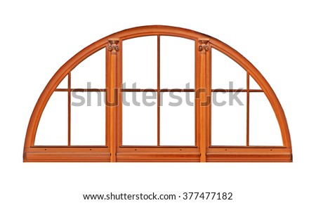Wooden window in an arch - stock photo