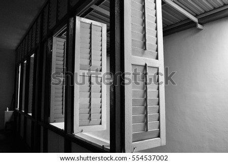 wooden window in black and white