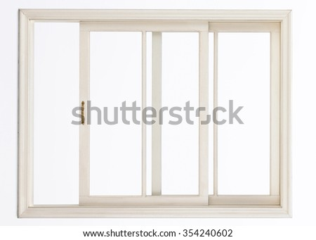 Wooden window isolated on white - stock photo