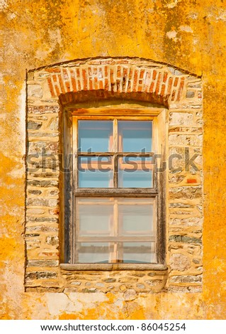 Wooden window of an old building in monastery Iviron in holy mountain Athos in Greece - stock photo