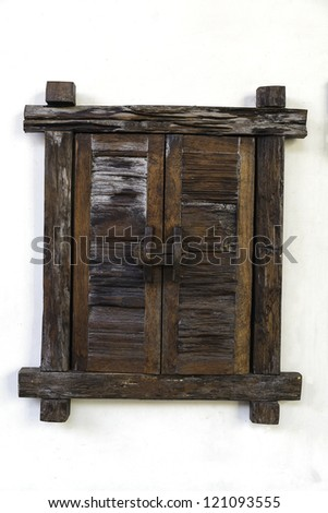 wooden window on white wall background