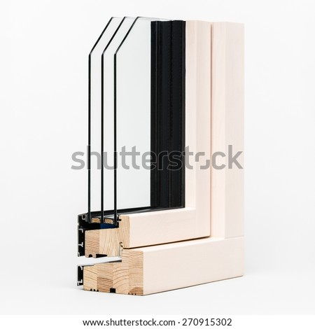 wooden window with aluminium wrap sample, isolated on white background