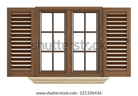 Wooden window with open shutter isolated on white - rendering - stock photo