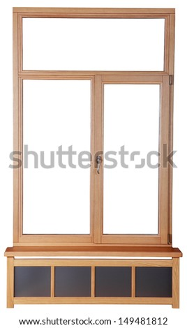 Wooden windows with double glazing made of timber. French windows with wooden frame of the timber. Isolated image on white background. - stock photo
