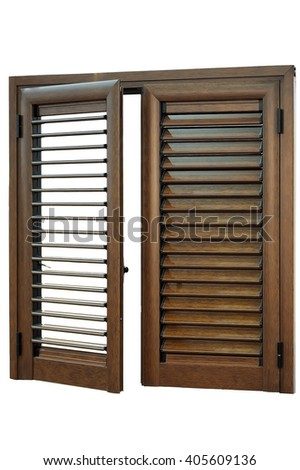 wooden windows with integrated blinds isolated on white background - stock photo