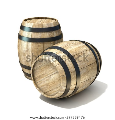 Wooden wine barrels. 3D render illustration isolated over white background - stock photo
