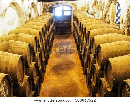 Wooden wine barrels stacked in the winery - stock photo