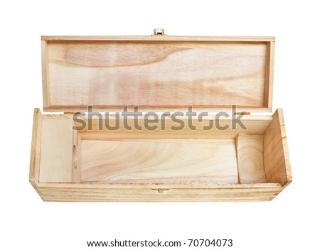 Wooden wine box, isolated on white - stock photo