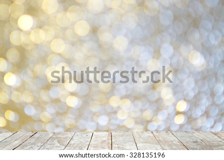 Wooden with abstract bokeh background. - stock photo