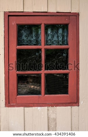 Wooden with window old house and grunge background - stock photo
