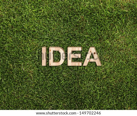 wooden word idea on green grass - stock photo