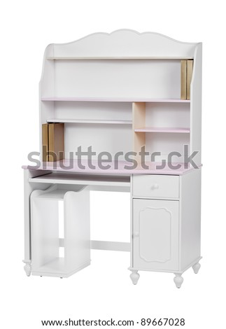 Wooden workstation (desk and bookcase) over white, with clipping path - stock photo