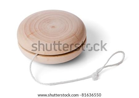 Wooden yo-yo toy isolated on white background. - stock photo