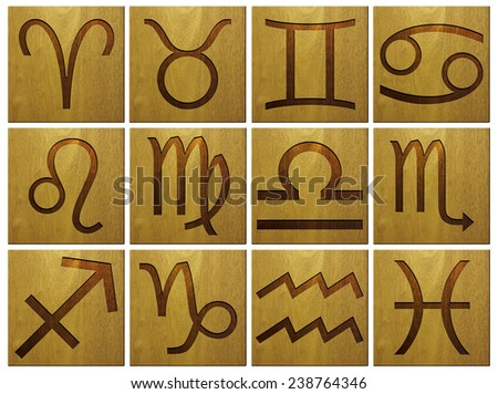 Wooden zodiac signs - stock photo