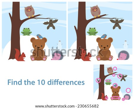 Woodland animals kids educational puzzle to spot the 10 differences between two illustrations of a cute little cartoon bear, bat, owl, squirrel, bird and frog on a tree, with a supplied solution - stock photo