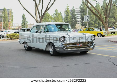 Woodland Hills, CA - Abril 5, 2015: Chevrolet Bel Air classic car on display at the Supercar Sunday Pre-1973 Muscle car event.