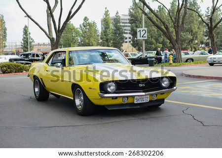 Woodland Hills, CA - Abril 5, 2015: Chevrolet SS Camaro  classic car on display at the Supercar Sunday Pre-1973 Muscle car event.