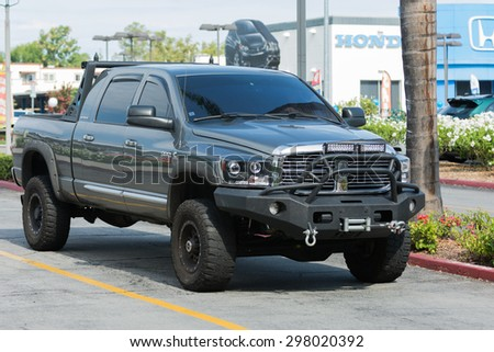 Woodland Hills, CA, USA - July 19, 2015:  Dodge Ram car on display at the Supercar Sunday car event.