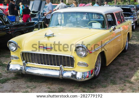 Woodland Hills, CA, USA - May 30, 2015: Chevrolet Bel Air Wagon car on display during 12th Annual LAPD Car Show & Safety Fair.