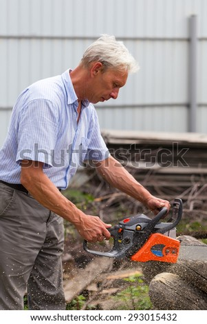 Woodman uses his chainsaw cut the tree - stock photo