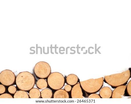 Woodpile background - stock photo