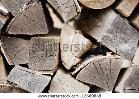 woodpile from the dry split firewood closeup