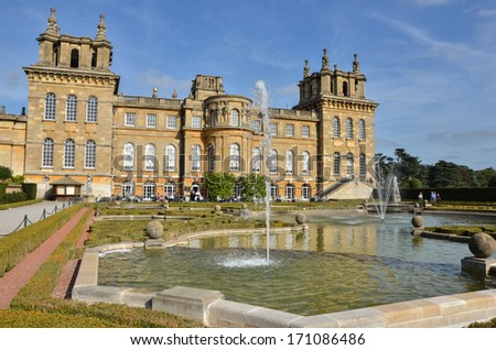 Woodstock, UK - September 23, 2011: View of the Water Terrace at Blenheim Palace full of visitors at the Cafe. The Palace, the residence of the dukes of Marlborough, is a UNESCO World Heritage Site. - stock photo