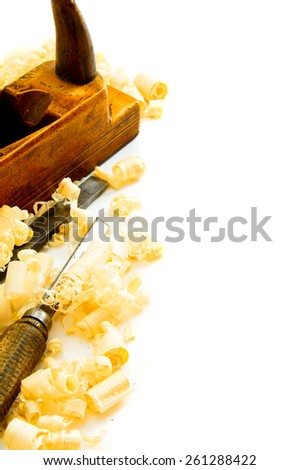 Woodworking. Joiner's works. Joiner's tools ( plane, chisel) on a white background. - stock photo