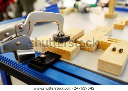 woodworking machine isolated under the white background - stock photo