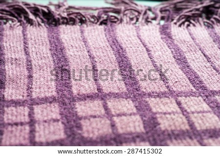 Wool fabric texture striped scarf - stock photo