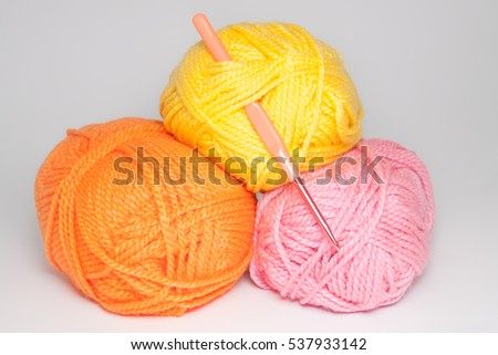 wool for knitting on white background