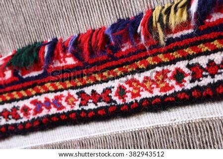 wool handmade carpet - stock photo