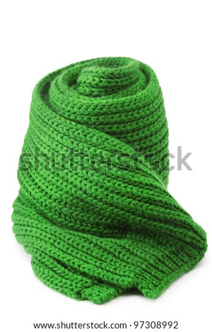Wool scarf on white background - stock photo